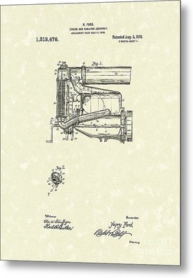 Ford Engine Assembly 1919 Patent Art Metal Print