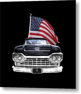 Ford F100 With U.s.flag On Black Metal Print by Gill Billington
