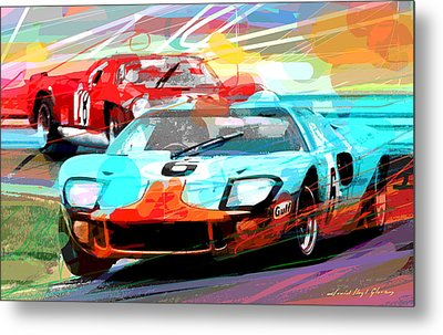 Ford Gt 40 Leads The Pack Metal Print by David Lloyd Glover