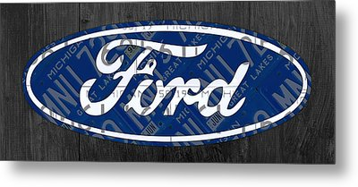 Ford Motor Company Retro Logo License Plate Art Metal Print by Design Turnpike