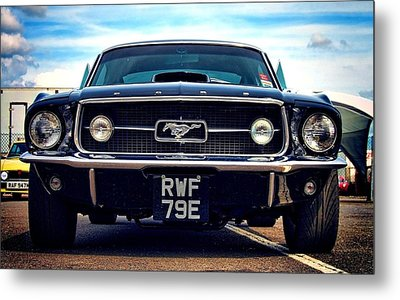 Ford Mustang Black And Old Metal Print by Art Work