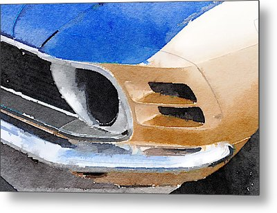 Ford Mustang Front Detail Watercolor Metal Print by Naxart Studio