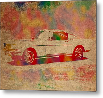 Ford Mustang Watercolor Portrait On Worn Distressed Canvas Metal Print