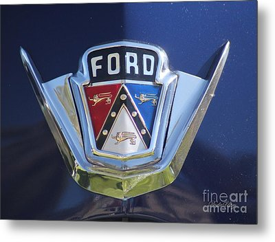 Ford On Blue Metal Print by Dodie Ulery