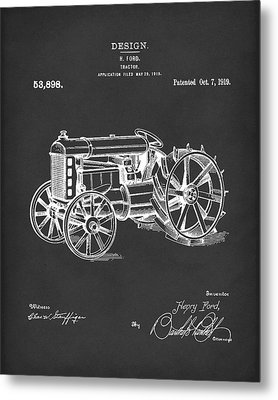 Ford Tractor 1919 Patent Art Black Metal Print by Prior Art Design