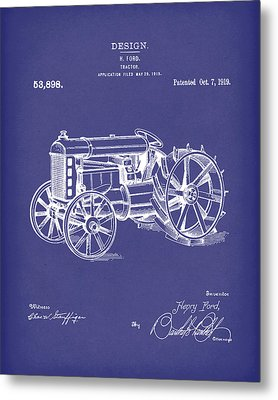 Ford Tractor 1919 Patent Art Blue Metal Print by Prior Art Design