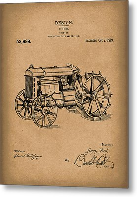 Ford Tractor 1919 Patent Art Brown Metal Print by Prior Art Design