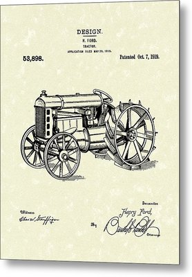 Ford Tractor 1919 Patent Art Metal Print by Prior Art Design