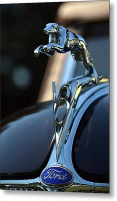 Metal Print featuring the photograph Ford V-8 Hood Ornemant by Dean Ferreira