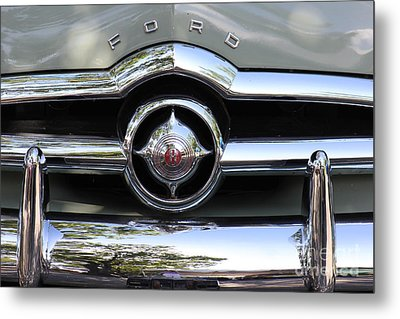 Ford V8 1949 - Vintage Metal Print by The Art of Alice Terrill