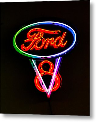 Ford V8 Neon Sign Metal Print by Jill Reger
