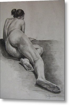 Foreshortened Nude Metal Print