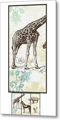 Forest Animals Group Suitable For Hanging Frames Metal Print