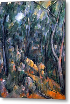 Forest Caves In The Cliffs Above The Cheteau Noir By Cezanne Metal Print by John Peter