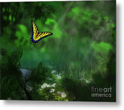Forest Glade Butterfly Background Metal Print