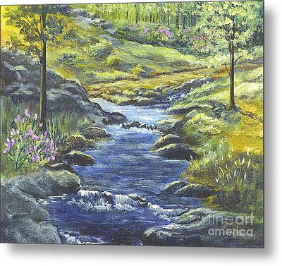 Metal Print featuring the painting Forest Glen Brook by Carol Wisniewski