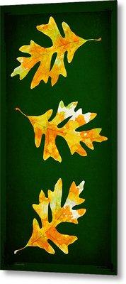 Forest Green Autumn Oak Leaf Painting Metal Print