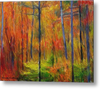 Metal Print featuring the painting Forest In The Fall by Bruce Nutting
