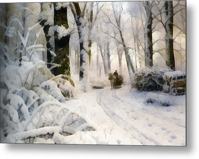 Forest In Winter Metal Print by Peder Mork Monsted