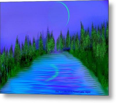 Forest Lake. Night. Metal Print