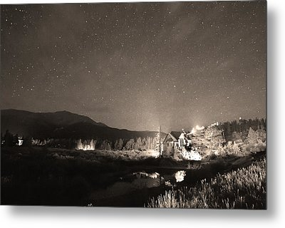 Forest Of Stars Above The Chapel On The Rock Sepia Metal Print by James BO  Insogna