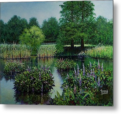 Metal Print featuring the painting Forest Park Pond Scene by Michael Frank