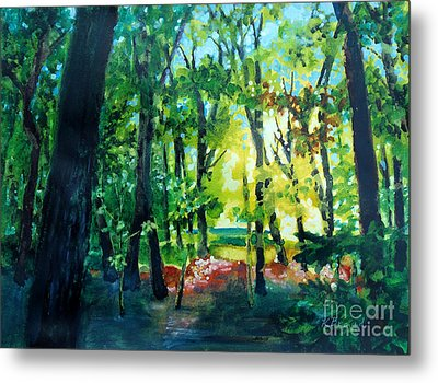 Metal Print featuring the painting Forest Scene 1 by Kathy Braud