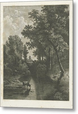 Forest Scene With Cows In A Stream, Jan Van Lokhorst Metal Print by Jan Van Lokhorst And Willem Roelofs (i)