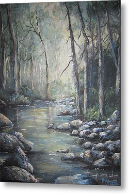 Metal Print featuring the painting Forest Stream by Megan Walsh