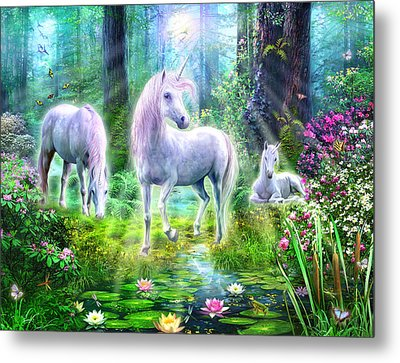 Forest Unicorn Family Metal Print