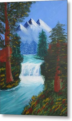 Forest Waterfall Metal Print by Haleema Nuredeen