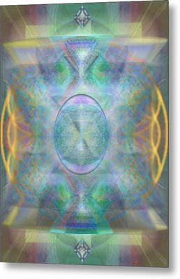Forested Chalice In The Flower Of Life And Vortexes Metal Print