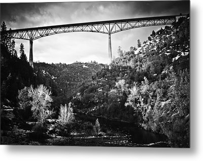 Foresthill Bridge In The Snow 2 Metal Print by Sherri Meyer