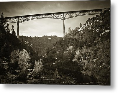 Foresthill Bridge In The Snow #3 Metal Print by Sherri Meyer