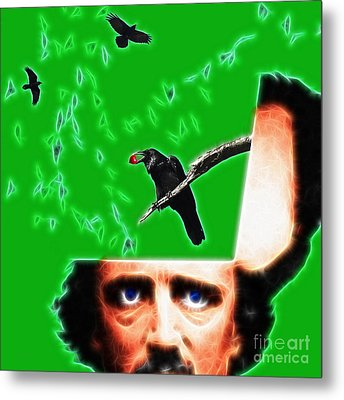 Forevermore - Edgar Allan Poe - Green - Square Metal Print by Wingsdomain Art and Photography