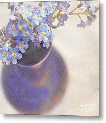 Forget Me Nots In Blue Vase Metal Print by Lyn Randle