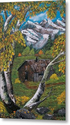 Metal Print featuring the painting Forgotten Cabin  by Sharon Duguay