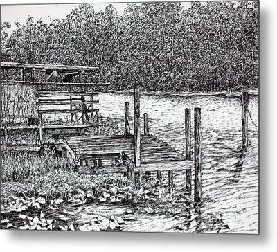 Forgotten Dock Metal Print by Janet Felts