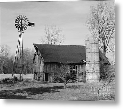 Forgotten Farm In Black And White Metal Print