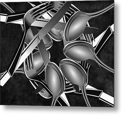 Fork Knife Spoon 1 Metal Print by Angelina Vick