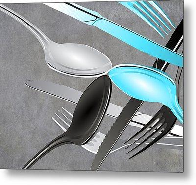 Fork Knife Spoon 4 Metal Print by Angelina Vick