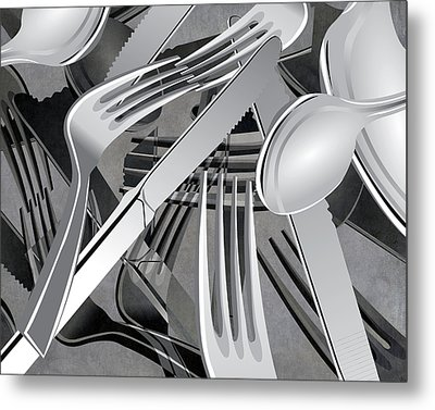 Fork Knife Spoon 7 Metal Print by Angelina Vick