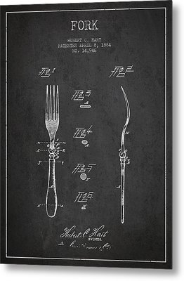Fork Patent From 1884 - Dark Metal Print