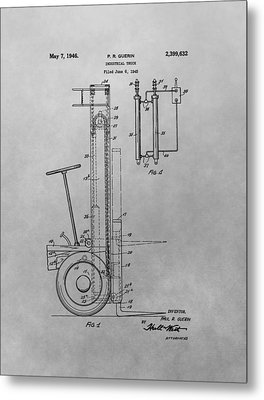 Forklift Patent Drawing Metal Print