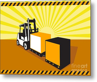 Forklift Truck Materials Handling Retro Metal Print by Aloysius Patrimonio