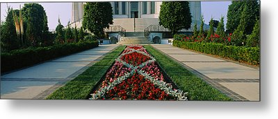 Formal Garden In Front Of A Temple Metal Print