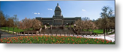 Formal Garden Outside State Capitol Metal Print by Panoramic Images