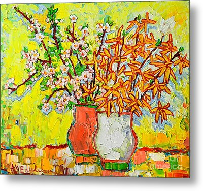 Forsythia And Cherry Blossoms Spring Flowers Metal Print