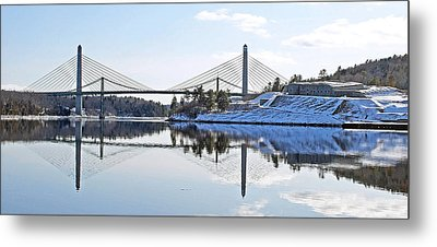 Fort Knox And Bridges Reflection In Winter Metal Print by Barbara West