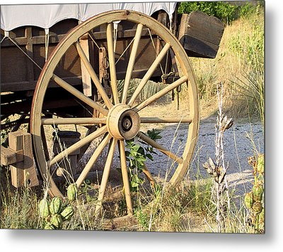 Fort Laramie Wy - Moving West On Wagon Wheels Metal Print by Christine Till